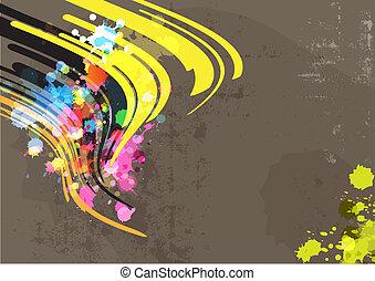 abstratos, grunge, fundo, tinta