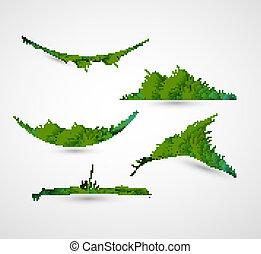 abstratos, ilustração, vetorial, verde, cobrança, capim, brilhante, quadro