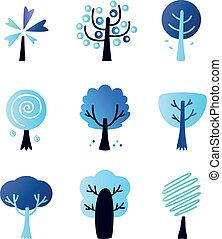 abstratos, inverno, isolado, árvores, jogo, vetorial, branca