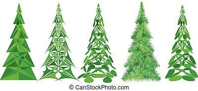 abstratos, jogo, árvores natal
