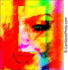 abstratos, mulher, arte, rosto