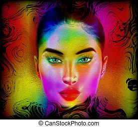 abstratos, mulher, face., coloridos