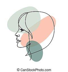 abstratos, mulher, linha, isolado, coloridos, white., stains., imagem, contínuo, pretas, perfil, rosto