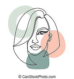 abstratos, mulher, linha, isolado, coloridos, white., stains., imagem, contínuo, pretas, rosto