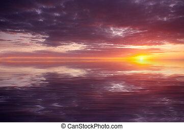 abstratos, oceano ocaso