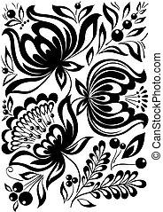 abstratos, ornament., elemento, flowers., pretas, retro, elegante, desenho, branca