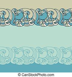 abstratos, pattern., seamless, mão, experiência., desenhado, onda