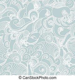 abstratos, pattern., seamless, mão, fundo, desenhado, onda