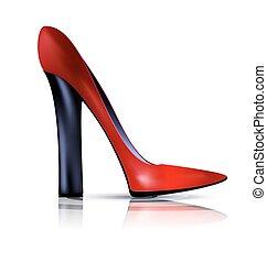 abstratos, sapato preto, vermelho