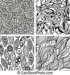 abstratos, seamless, mão, padrões, vetorial, monocromático, desenhado