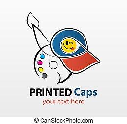 abstratos, serigraphy, marcar, fábrica, logotipo, tipografia, modernos, modelo, vetorial, cinzento, identidade incorporada, printable, isolado, impressão, colorido, cap., fundo, oficina