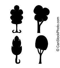abstratos, silueta, árvores