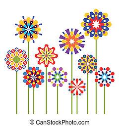 abstratos, vetorial, flores, coloridos