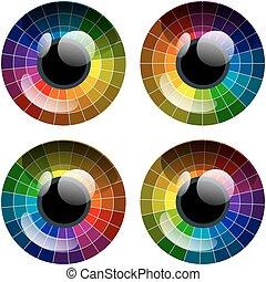 abstratos, vetorial, olho, paleta, coloridos