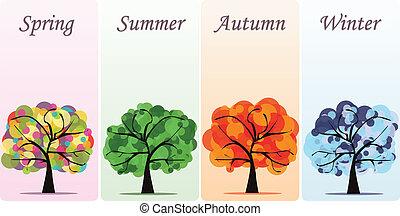 abstratos, vetorial, sazonal, árvores