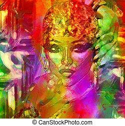 abstratos, womans, rosto, arte, efeito, gel