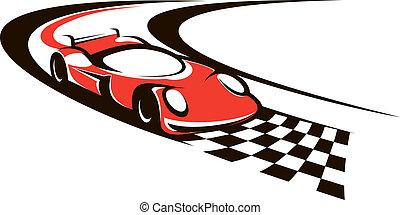 acabamento, car, acelerando, cruzamento, linha, correndo