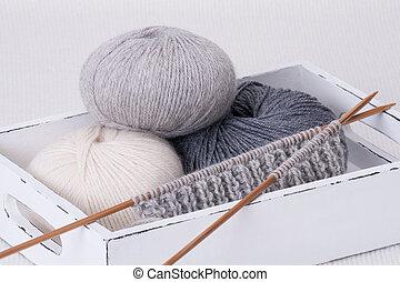 accessories., bolas, tricotando, fio