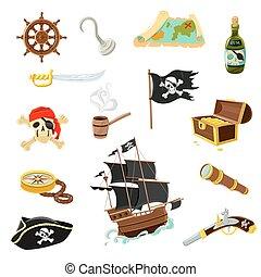 acessórios, apartamento, jogo, pirata, ícones