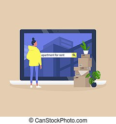 achar, femininas, casa, personagem, plataforma, service., alugando, usando, aluguel, online, apartamento, jovem
