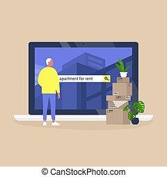 achar, personagem, casa, macho, plataforma, service., alugando, usando, aluguel, online, apartamento, jovem