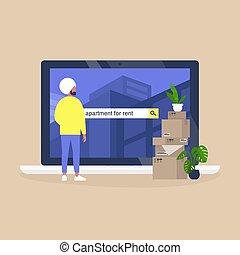 achar, personagem, casa, macho, plataforma, service., usando, alugando, indianas, aluguel, online, apartamento, jovem
