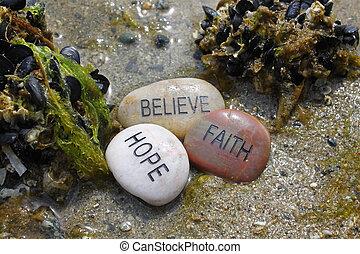 acreditar, fé, esperança, pedras