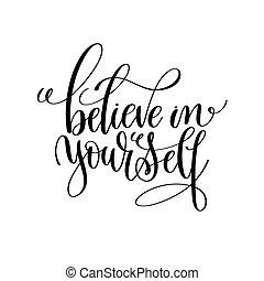 acreditar, modernos, você mesmo, pretas, escova, branca, caligrafia