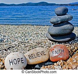 acreditar, pedra, cura, fé, esperança