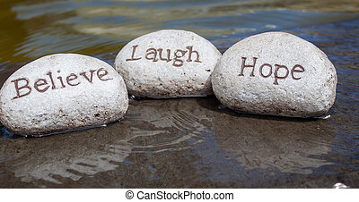 acreditar, riso, esperança, rocks.