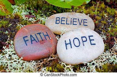 acreditar, stones., fé, esperança