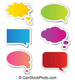 adesivo, bolha, conversa