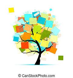 adesivos, desenho, arte, seu, árvore