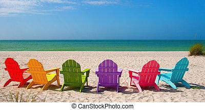 adirondack, areia, praia concha, férias, verão, cadeiras