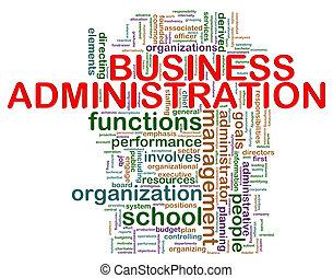 administração, palavra, negócio, etiquetas