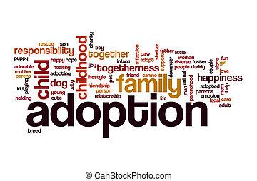 adoção, palavra, nuvem