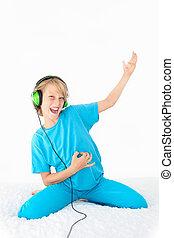 adolescente, jovem, areje violão, tocando, criança