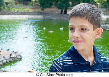 adolescente, lagoa