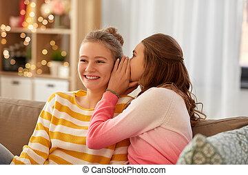 adolescente, lar, feliz, meninas, fofoque