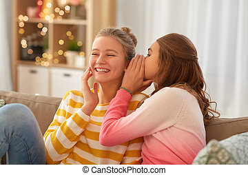 adolescente, lar feliz, meninas, fofoque