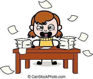 adolescente, lotes, trabalho, -, ilustração, vetorial, retro, menina, frustrado, caricatura