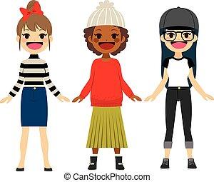 adolescente, moda, meninas