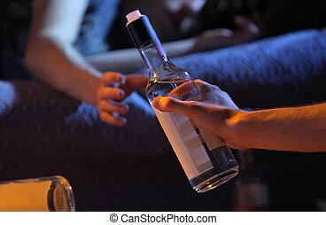 adolescente, vício, conceito, álcool