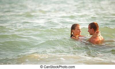 adolescente, verão, par, férias praia