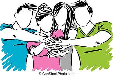adolescentes, conceito, equipe, vetorial, trabalho, illustration.eps, amizade