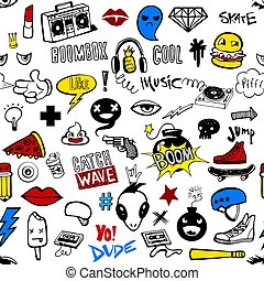 adolescentes, padrão, hipsters, seamless, doodles