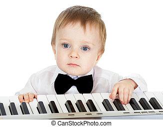 adorável, piano, eletrônico, tocando, criança