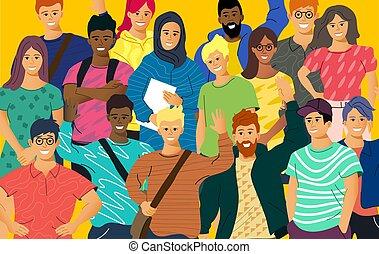 adulto, jovens, multicultural, torcida