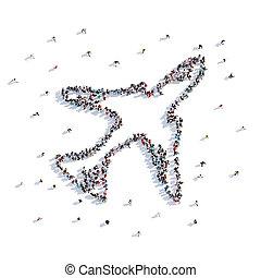 aeronave, lote, forma, pessoas