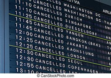 aeroporto, vôos, tábua, cancelado, informação vôo